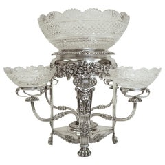 English Regency Silver & Cut Crystal Epergne or Centerpiece