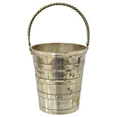 English Regency Silver Plate Woven Basketware Small Ice Bucket Wine Chiller