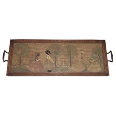 English Regency Straw and Felt Sampler Serving Tray