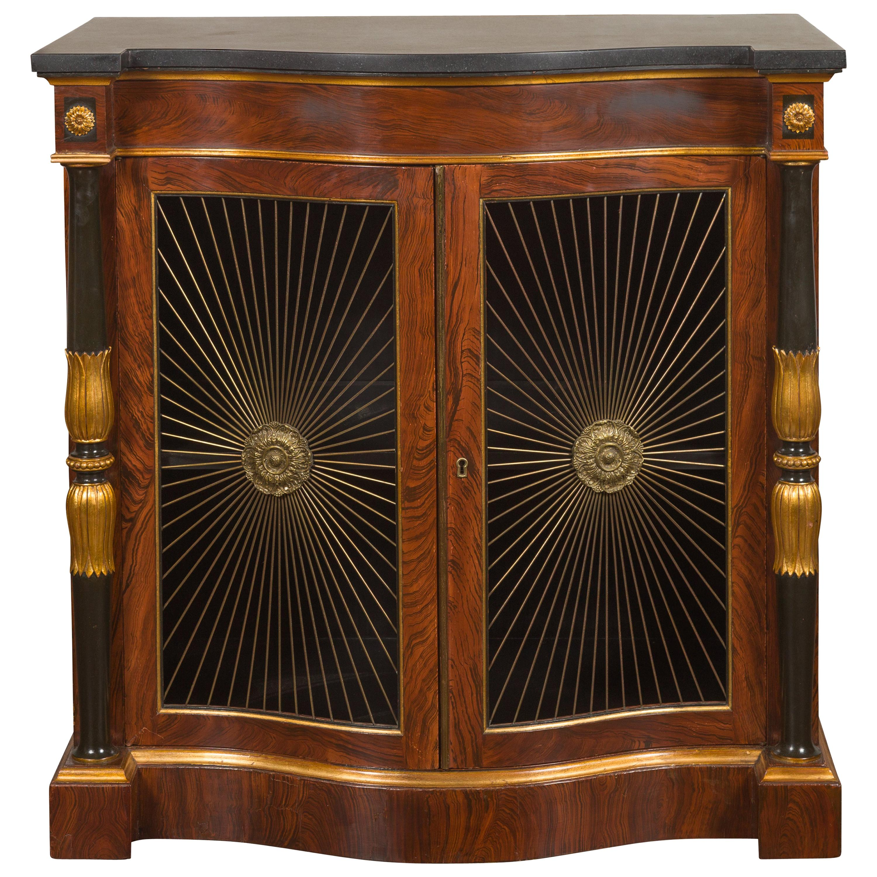 English Regency Style 1920s Faux Rosewood Painted Cabinet with Gilt Accents
