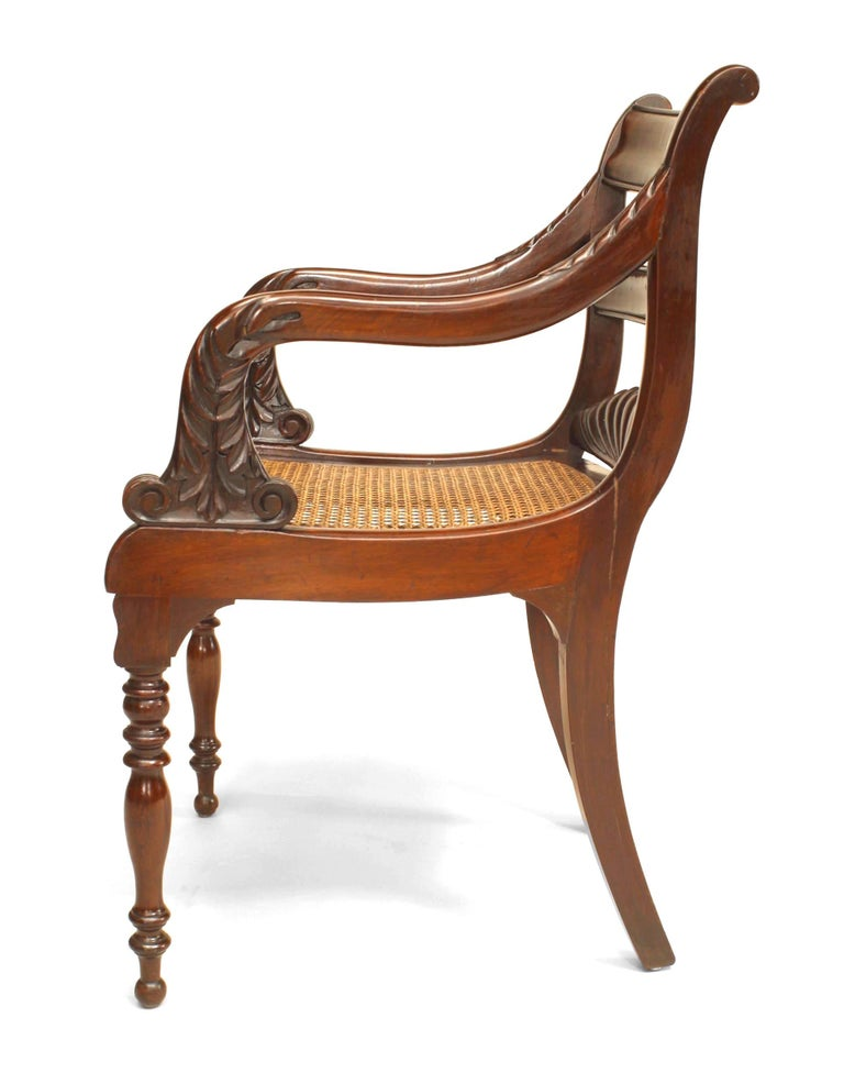Hand-Carved English Regency Style '19th Century' Ladder Back Armchair For Sale