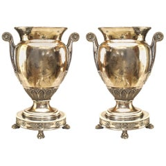 English Regency Style '19th Century' Silver Plated Porcelain Classic Urns, Pair