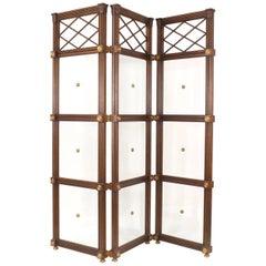 English Regency Style Mahogany and Glass Three-Fold Screen Room Divider