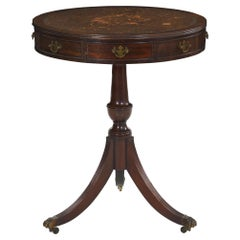 English Regency Style Antique Mahogany and Leather Drum-Top Accent Table