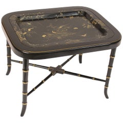 English Regency Style Black Lacquer Tray Table