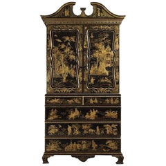 English Regency Style Black Lacquered and Gold Chinoiserie Decorated Cabinet