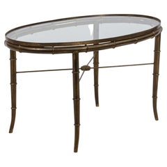 English Regency Style Brass and Faux Bamboo Oval Coffee Table