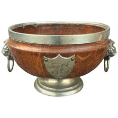 English Regency Style Brass Bound Wooden Bowl with Lion Pulls & Shield