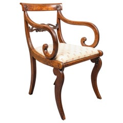 English Regency Style Brass Inlaid Armchair
