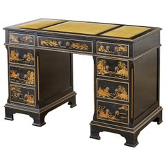 English Regency Style Chinoiserie Decorated Knee Hole Desk
