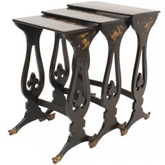 English Regency Style Chinoiserie Decorated Nest of Three Tables