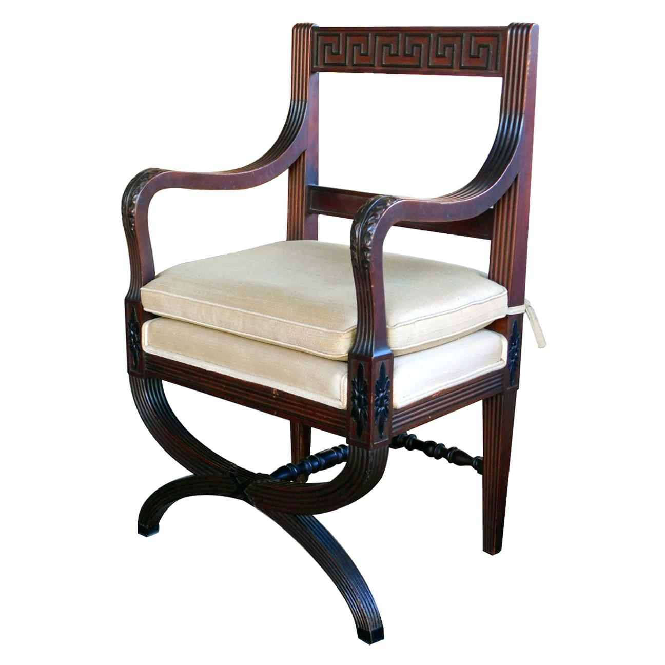 English Regency Style Curule-Form Armchair with Greek Key Relief
