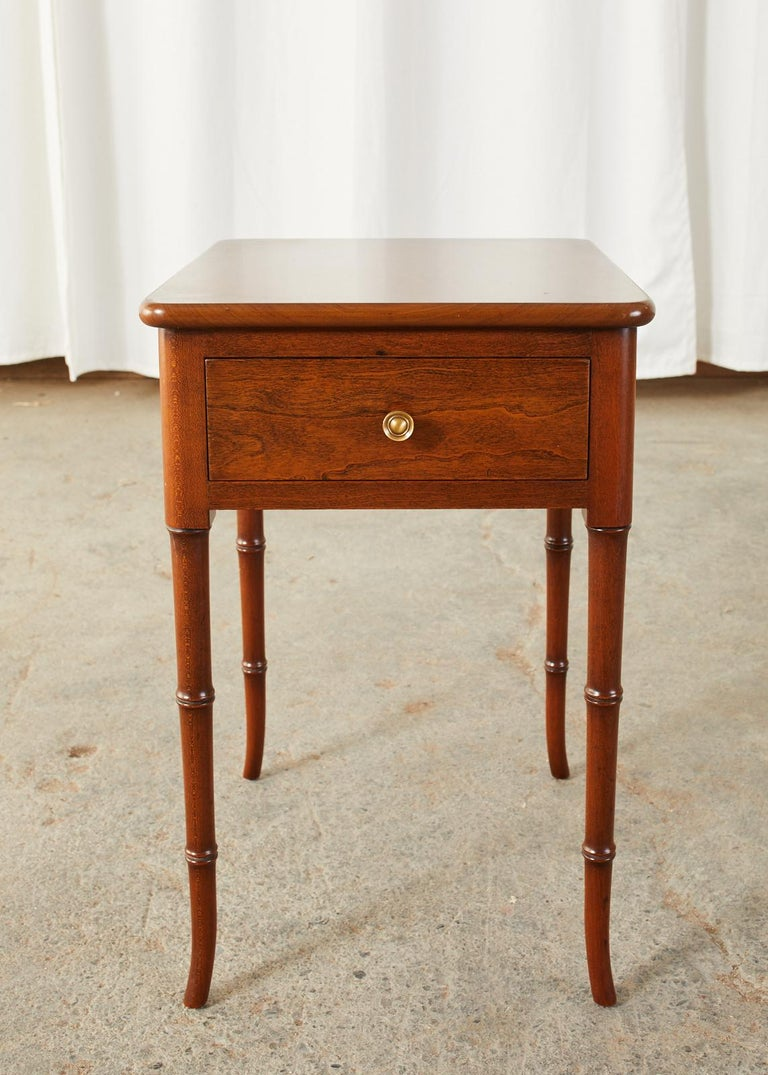English Regency Style Faux Bamboo Mahogany Drinks Table For Sale 5