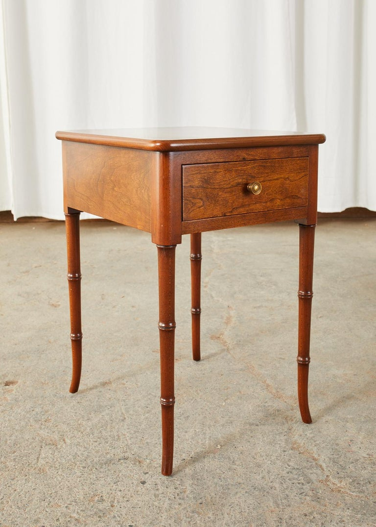 Hand-Crafted English Regency Style Faux Bamboo Mahogany Drinks Table For Sale