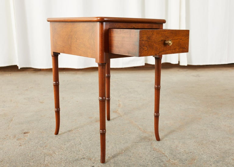 20th Century English Regency Style Faux Bamboo Mahogany Drinks Table For Sale