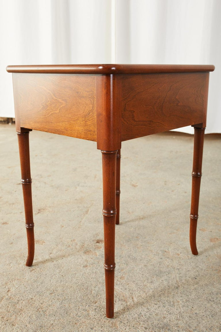 English Regency Style Faux Bamboo Mahogany Drinks Table For Sale 2
