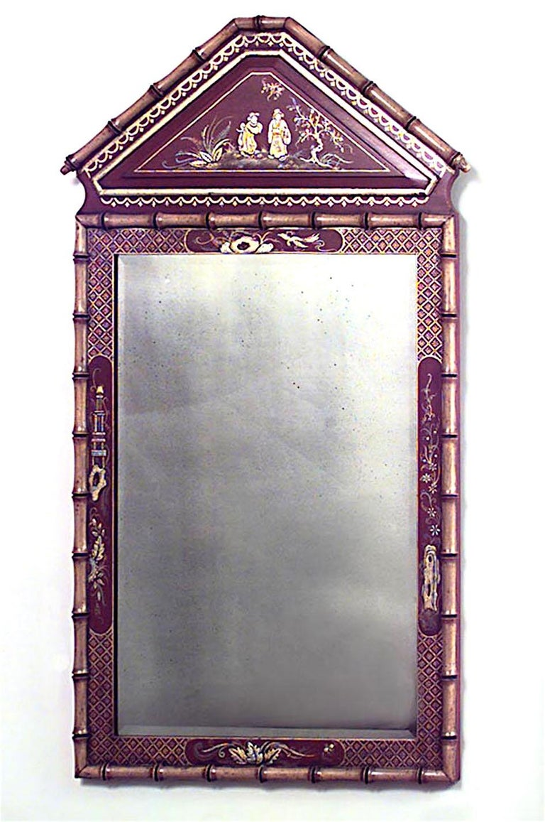English Regency style faux bamboo wall mirror with pediment top and red lacquered chinoiserie decorated border (20th centry).