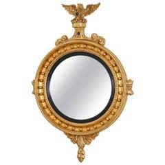 English Regency Style Giltwood Convex Girandole Mirror