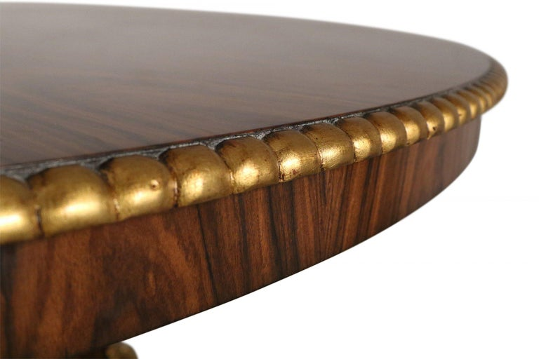 20th Century English Regency Style Mahogany and Giltwood Round Center Table For Sale
