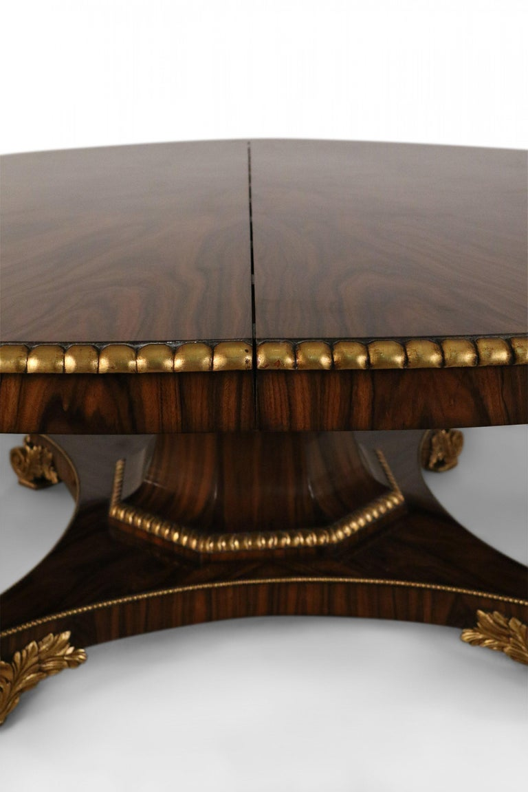 English Regency Style Mahogany and Giltwood Round Center Table For Sale 3