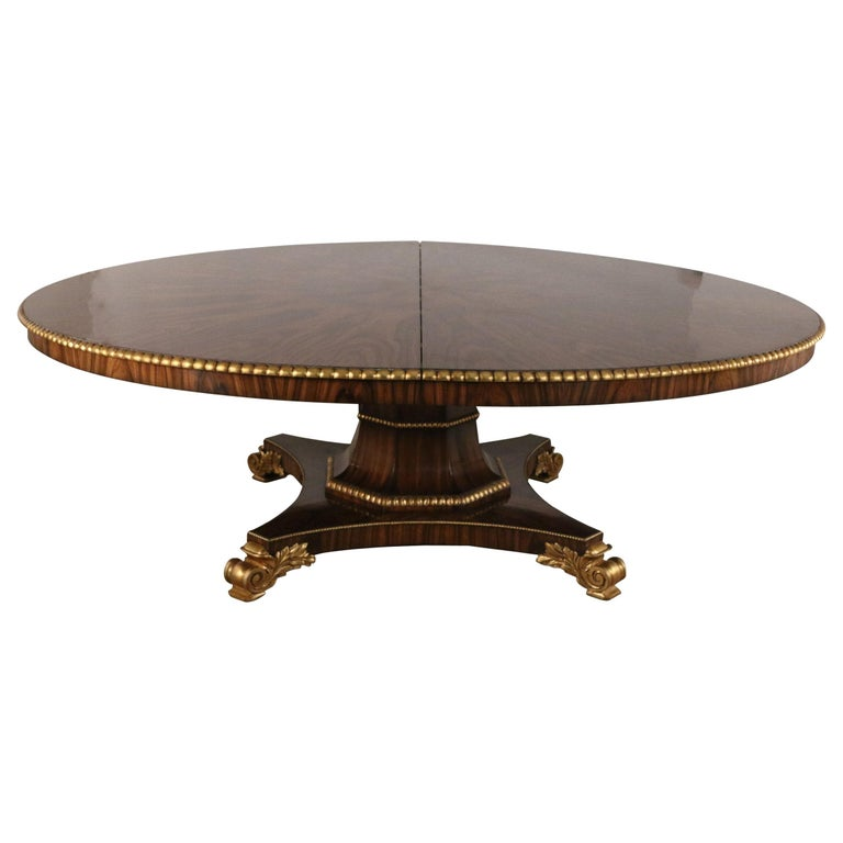 English Regency Style Mahogany and Giltwood Round Center Table For Sale