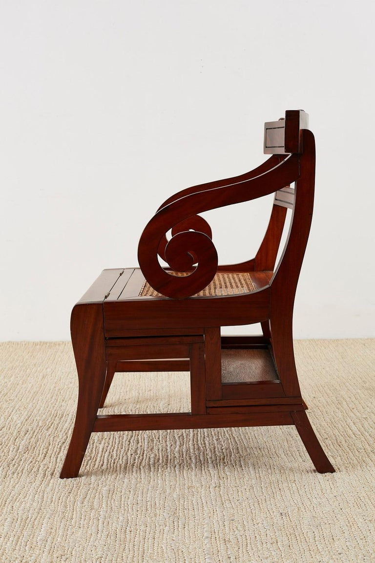English Regency Style Mahogany Metamorphic Library Step Chair For Sale 5