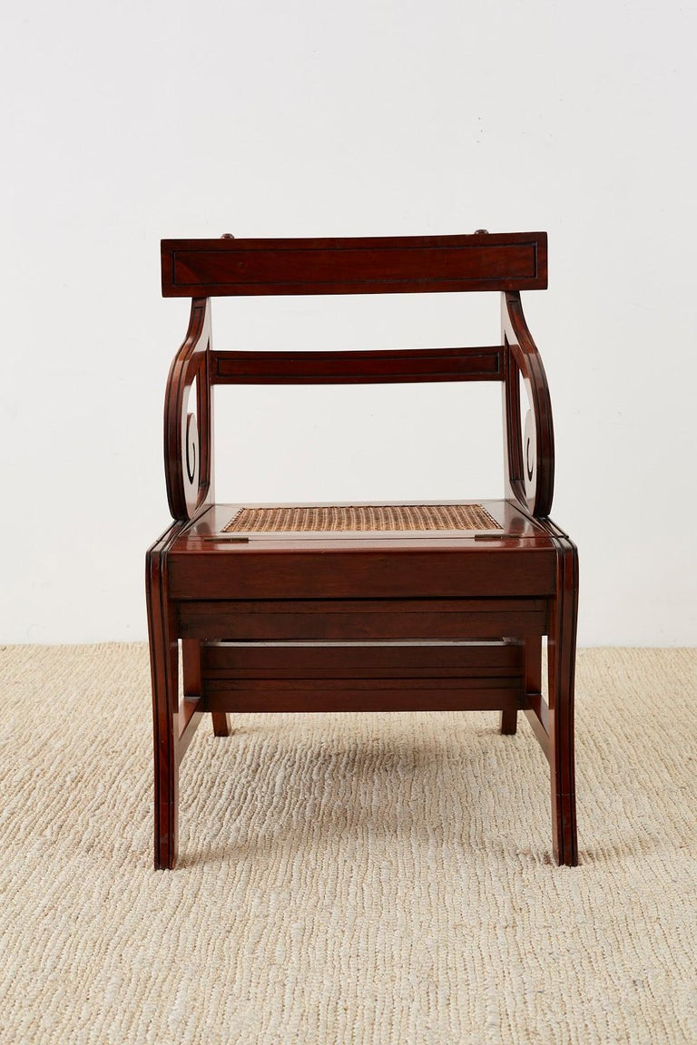 English Regency Style Mahogany Metamorphic Library Step Chair For Sale 10