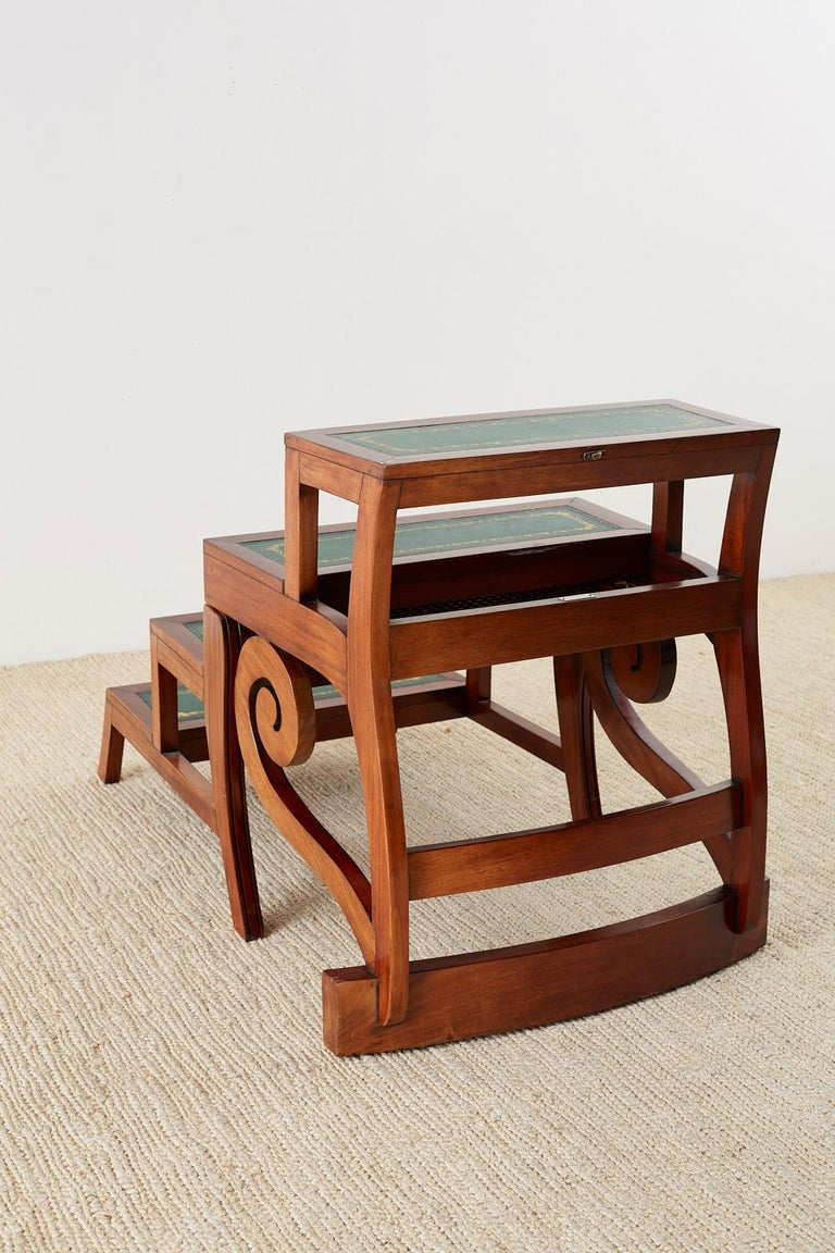 English Regency Style Mahogany Metamorphic Library Step Chair For Sale 12