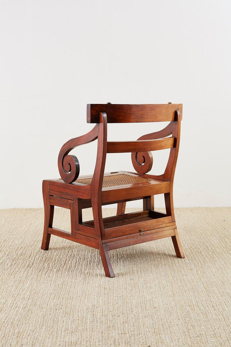 English Regency Style Mahogany Metamorphic Library Step Chair For Sale 13
