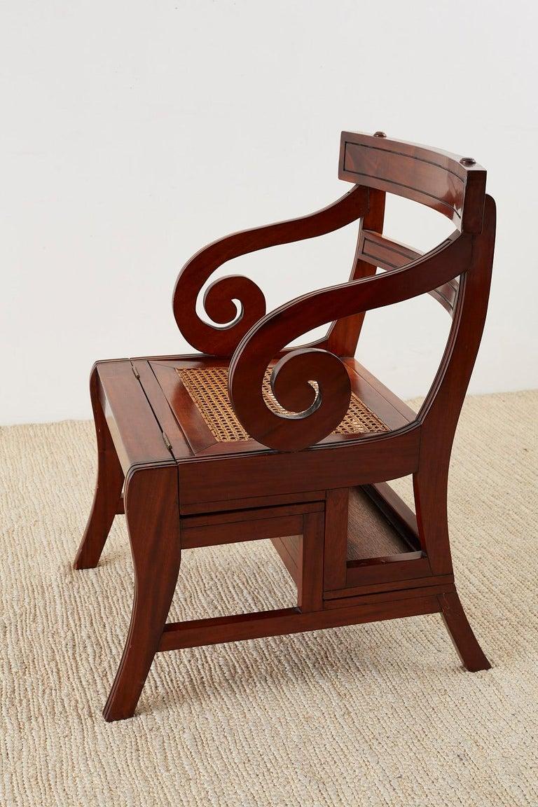 Italian English Regency Style Mahogany Metamorphic Library Step Chair For Sale