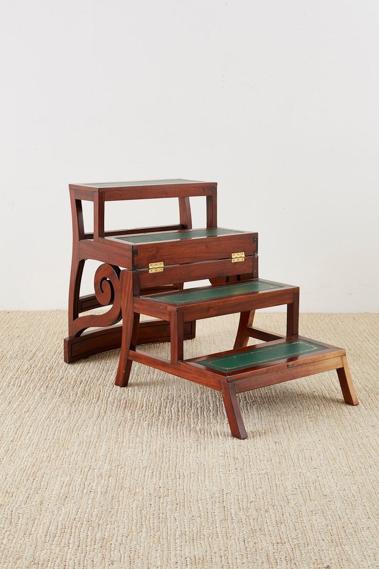 Embossed English Regency Style Mahogany Metamorphic Library Step Chair For Sale