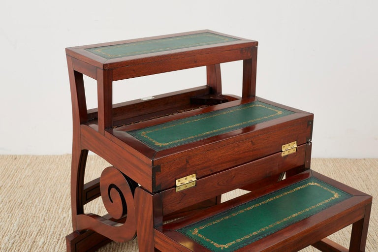 Leather English Regency Style Mahogany Metamorphic Library Step Chair For Sale