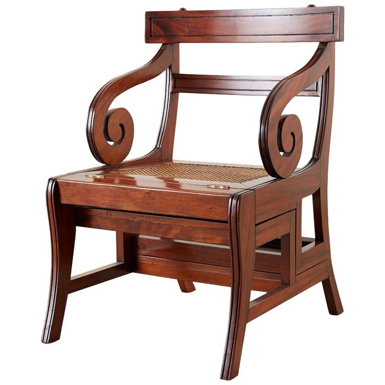 English Regency Style Mahogany Metamorphic Library Step Chair For Sale
