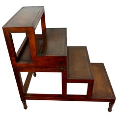 English Regency Style Mahogany Metamorphic Library Steps with Tooled Leather Top