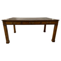 English Regency Style Partners Desk with Leather Top, 20th Century