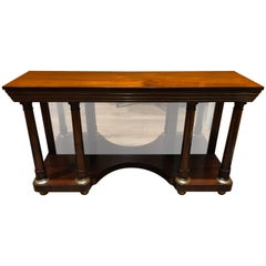 English Regency Style Rosewood Console Table with Brass Inlay and Mirror Base