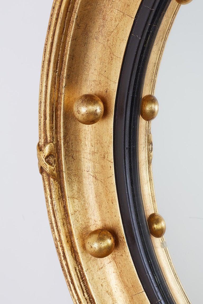 English Regency Style Round Convex Bullseye Mirror For