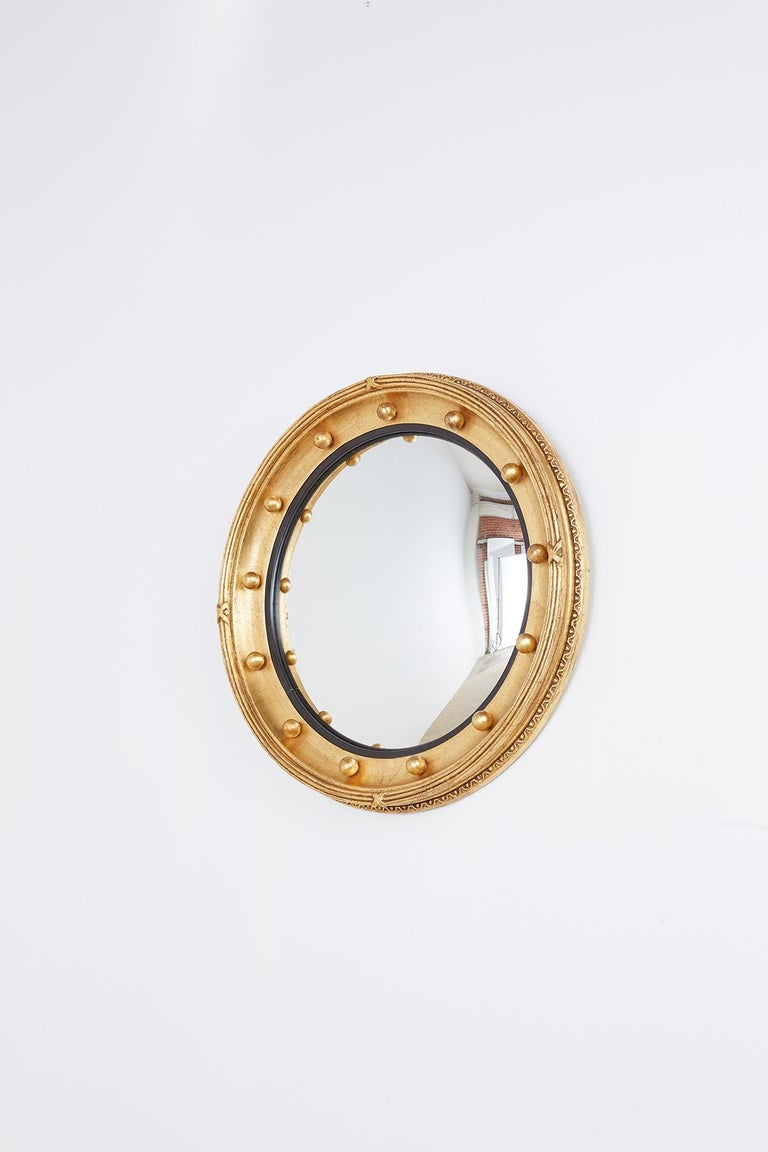 English Regency Style Round Convex Bullseye Mirror For