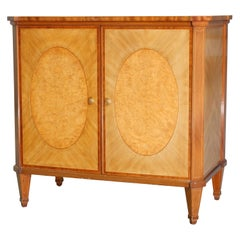 English Regency Style Satinwood and Burl Walnut Inlaid and Banded Credenza