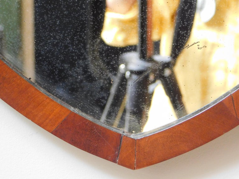 British English Regency Style Shield Shape Mahogany Mirror For Sale