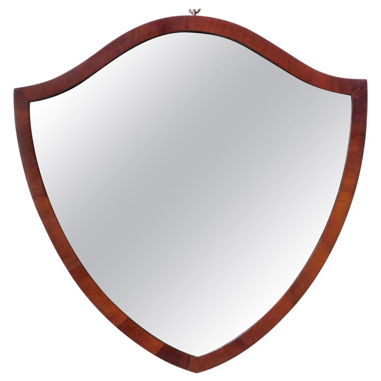 English Regency Style Shield Shape Mahogany Mirror For Sale