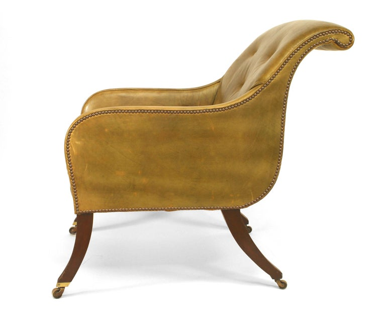 English Regency Style Sleigh Back Club Chair 3