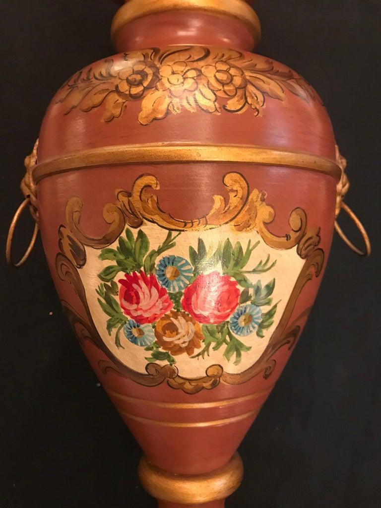 Regency Revival English Regency Style Hand-Painted Toleware Lamp By Gherardo Degli Albizzi  For Sale