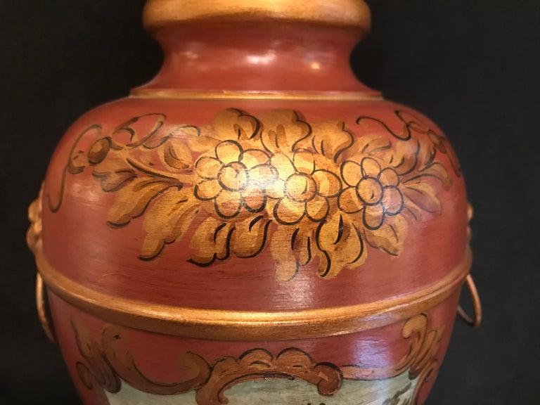 Italian English Regency Style Hand-Painted Toleware Lamp By Gherardo Degli Albizzi  For Sale