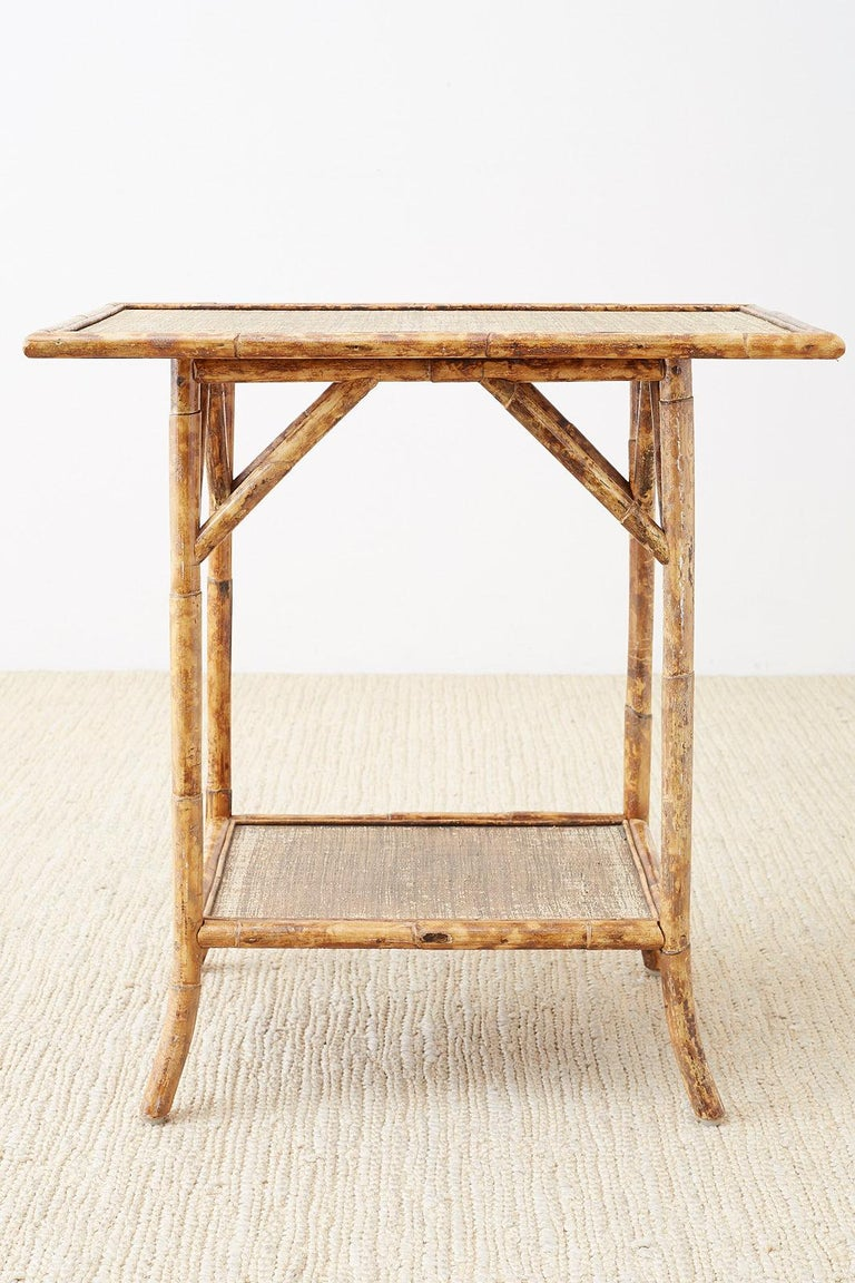 Hand-Crafted English Regency Style Tortoise Shell Bamboo Raffia Table