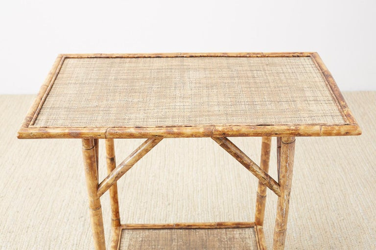 English Regency Style Tortoise Shell Bamboo Raffia Table In Good Condition In Rio Vista, CA
