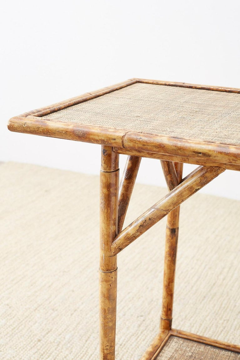 20th Century English Regency Style Tortoise Shell Bamboo Raffia Table