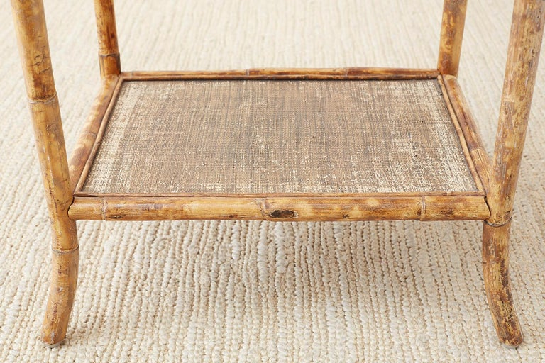 Grasscloth English Regency Style Tortoise Shell Bamboo Raffia Table