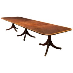 English Regency Style Triple Pedestal Mahogany Banquet Table with 2 Leaves