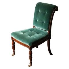 English Regency Style Tufted Green Velvet Library Chair
